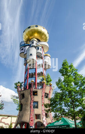 The Kuchlbauer Tower was completed after Hundertwasser's death by architect Peter Pelikan overseeing construction. - Stock Photo