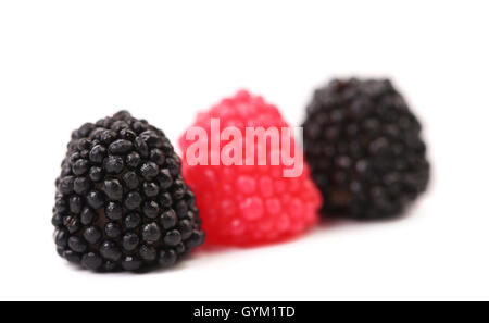 Three jelly fruit in form of berries candy. - Stock Photo