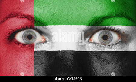 Close up of eyes with flag - Stock Photo