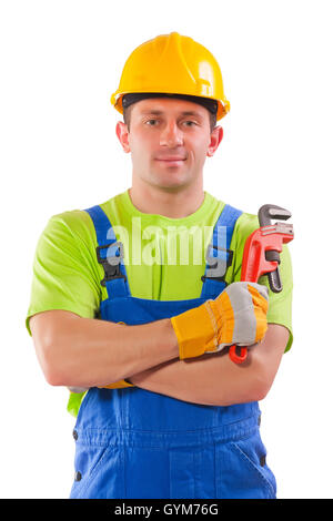 worker with pipe wrench - Stock Photo
