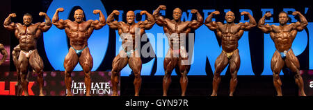Las Vegas, Nevada, USA. 17th Sep, 2016. Bodybuilders compete in the Mr. Olympia contest during Joe Weider's Olympia - Stock Photo