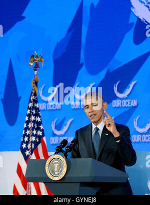Washington, DC. 15th Sep, 2016. United States President Barack Obama speaks at the 2016 Our Ocean Conference at - Stock Photo