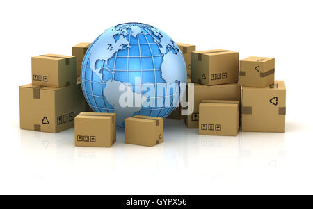 International package delivery concept , This is a 3d computer generated image. Isolated on white. - Stock Photo