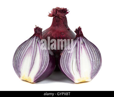 Red onions isolated on white background with clipping path - Stock Photo