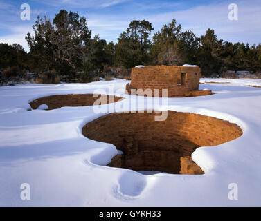 Pueblo Indian ruins and archaeological site, Mesa Verde National Park, and Heritage site, Colorado USA - Stock Photo