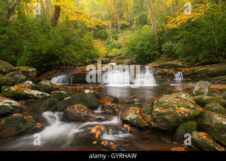 View of Road Prong stream & small waterfalls from Chimney Tops trail, Autumn, Great Smoky Mountain National Park - Stock Photo
