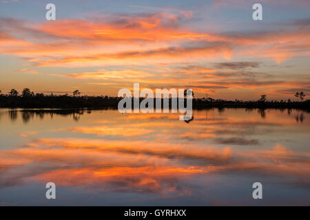 Sunset over Pine Glades Lake in Everglades National Park, Florida USA - Stock Photo