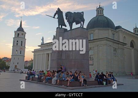 Dusk in Cathedral Square in Vilnius - Stock Photo