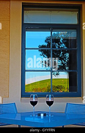 Wine Table for Two in the Barossa Valley in South Australia - Stock Photo