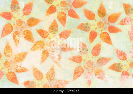 colorful ornamental background pattern with autumn leaves collage. - Stock Photo