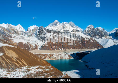 Everest view  from Renjo la pass in Himalayas, Nepal. Gokyo lake - Stock Photo