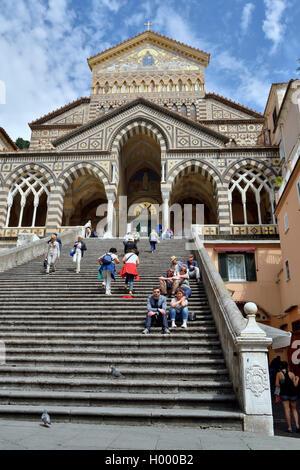 Sant'Andrea Cathedral, Amalfi, Amalfi Coast, Costiera Amalfitana, Province of Salerno, Campania, Italy - Stock Photo