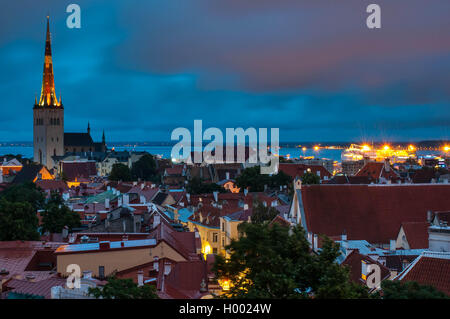 Evening scenic summer aerial panorama of the Old Tallinn - Stock Photo