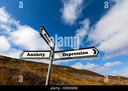 Depression anxiety stress mental health problem problems concept road sign choice choose life direction future concepts - Stock Photo