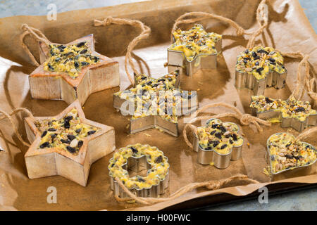 selbstgemachtes Vogelfutter wurde in Foermchen zum Aufhaengen gefuellt | self made birdseeds are filled in jars - Stock Photo