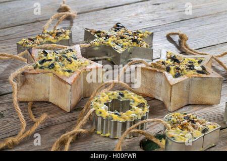 selbstgemachtes Vogelfutter wurde in sternfoermige Foermchen zum Aufhaengen gefuellt | self made birdseeds are filled - Stock Photo
