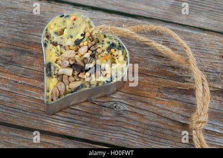 selbstgemachtes Vogelfutter wurde in ein herzfoermiges Foermchen zum Aufhaengen gefuellt | self made birdseeds are - Stock Photo