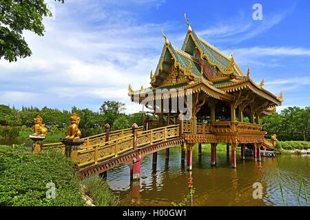 Chinese temple Sala of Ten Reincarnations, Ancient-City (Muang Buran), Thailand, Muang Buran - Stock Photo