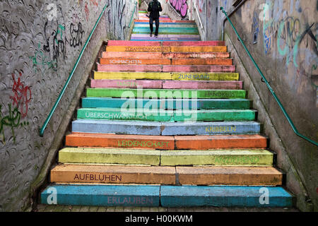 colourful perron, Scala, Holsteiner Treppe, Germany, North Rhine-Westphalia, Bergisches Land, Wuppertal - Stock Photo