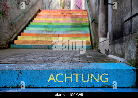 the word 'respect' on colourful perron, Scala, Holsteiner Treppe, Germany, North Rhine-Westphalia, Bergisches Land, - Stock Photo