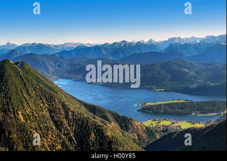Blick vom Heimgarten ueber den Walchensee, im Hintergrund das Karwendelgebirge, Deutschland, Bayern, Oberbayern, - Stock Photo