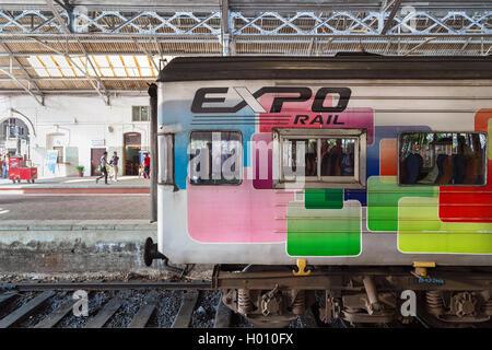 COLOMBO, SRI LANKA - FEBRUARY 22, 2014: Expo Rail train stopping at main train station. The train is a great way - Stock Photo