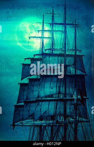 Old pirate ship sailing masts in the Moon light - Stock Photo