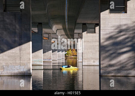 motorway bridge of the A46 over Seilersee in autumn, Germany, North Rhine-Westphalia, Sauerland, Iserlohn - Stock Photo