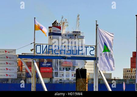 container ship CMA CGM Sambhar on Lower Elbe near Stadersand, Germany, Lower Saxony, Stade - Stock Photo
