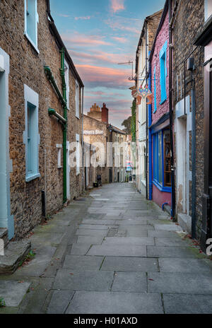 Dusk at Paul Street an alley off Catherine Hill at Frome in Somerset