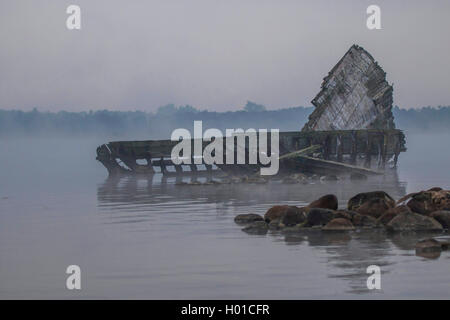 shipwreck in Breitling, Germany, Mecklenburg-Western Pomerania, Schnatermann, Rostock - Stock Photo