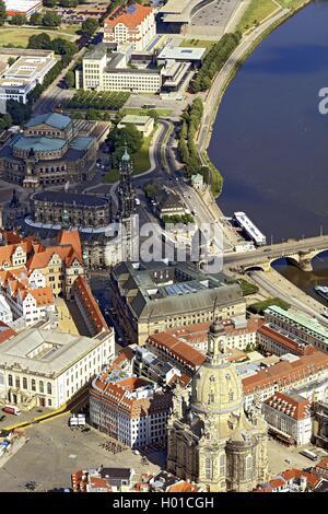 Innenstadt von Dresedn mit Frauenkriche, Hofkirche und Semperoper, 20.06.2016, Luftbild, Deutschland, Sachsen, Dresden - Stock Photo