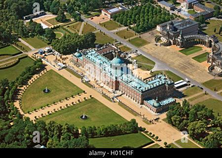 Neues Palais im Park von Schloss Sanssouci, Universitaet Potsdam, 20.06.2016, Luftbild, Deutschland, Brandenburg, - Stock Photo