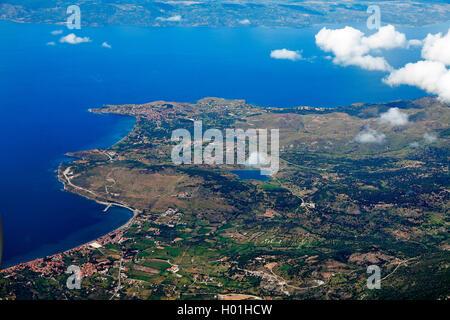 northwest coast of Lesbos near Molivos, aerial image, Greece, Lesbos - Stock Photo