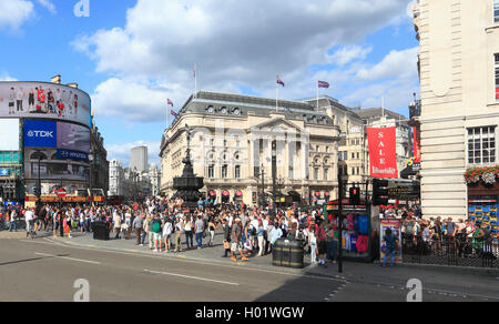 Piccadilly Circus on a summers day in London - Stock Photo