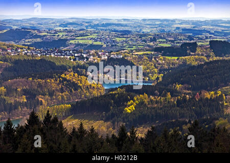 view from Unnenberg tower to storage lake Aggertalsperre, Germany, North Rhine-Westphalia, Bergisches Land, Marienheide - Stock Photo