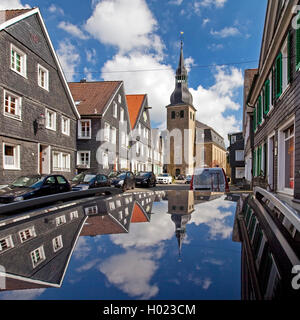 historic old city with St. Paul's Church mirroring on car top, Germany, North Rhine-Westphalia, Bergisches Land, - Stock Photo