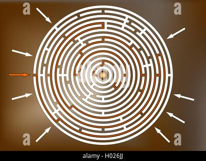Reaching the goal in labyrinth, brown - Stock Photo