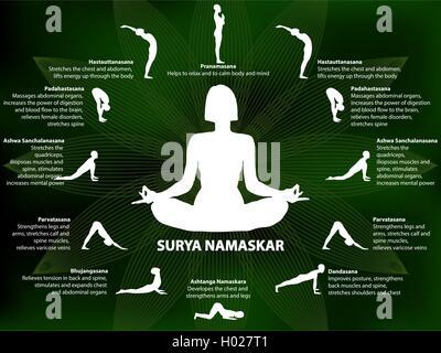 yoga infographics surya namaskar sequence stock vector