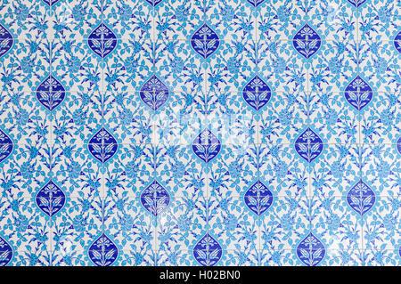 Image of decorative blue floral mosque tiles. - Stock Photo
