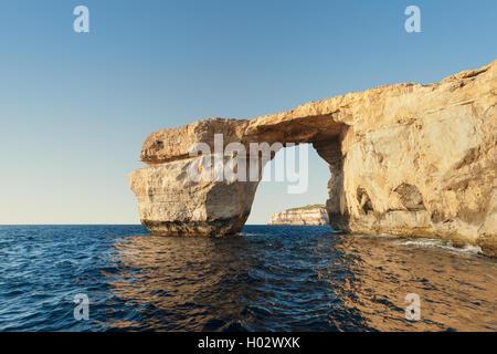 Azure Window, limestone natural arch on Island of Gozo, Malta. - Stock Photo