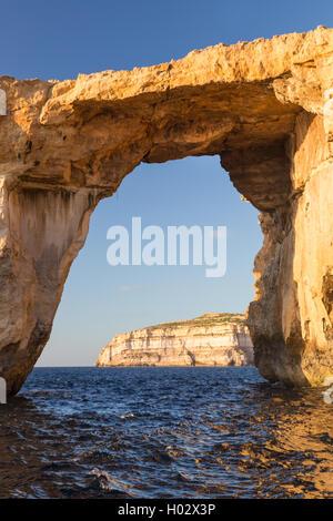 Detail of Azure Window, limestone natural arch on Island of Gozo, Malta. - Stock Photo