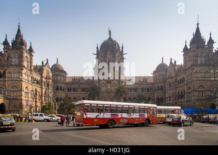 MUMBAI, INDIA - 17 JANUARY 2015: Chhatrapati Shivaji Terminus is a UNESCO World Heritage Site and historic railway - Stock Photo