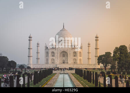 AGRA, INDIA - 28 FEBRUARY 2015: View of Taj Mahal in front of the Great Gate. South side. Post-processed with grain, - Stock Photo