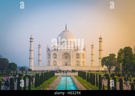 AGRA, INDIA - 28 FEBRUARY 2015: View of Taj Mahal in front of the Great Gate. South side. - Stock Photo