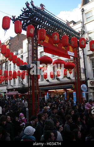 Chinese entrance gate in London's Chinatown, Gerrard Street, London, UK - Stock Photo