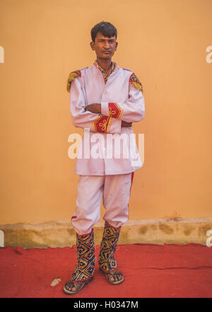GODWAR REGION, INDIA - 15 FEBRUARY 2015: Young Indian musician dressed in wedding ceremony outfit. Post-processed - Stock Photo