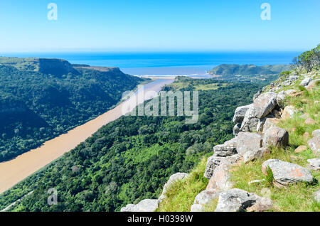 Aerial view of the the Umzimvubu river mouth in Port St Johns, South Africa - Stock Photo