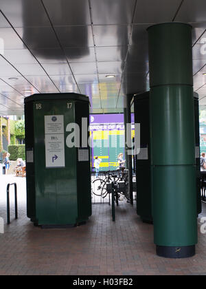 Ticket machines and Order of Play board All England Lawn Tennis and Croquet Club, Somerset Road Wimbledon, SW19, - Stock Photo