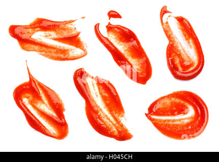 Collection of ketchup stains on white background. Ketchup splashes isolated. - Stock Photo